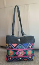 Vintage  Leather  Bag Tote Purse Geometric Color  studs