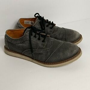 TOMS Gray Ash Twill Brogue Lace Shoes Youth Boys 2.5 Oxford 10009221