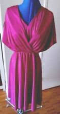 Vintage 70s fuchsia cerise magenta dark violet disco sheath midi dress M -L
