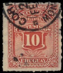 "URUGUAY 41 (Mi39) - Numeral of Value ""1877 Vermilion"" (pa73776)"