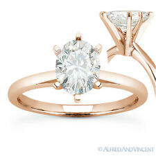 Engagement Ring in 14k Rose Gold Forever One D-E-F Oval Cut Moissanite Solitaire