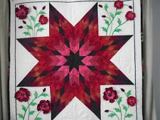 """Handmade quilted Table topper (44""""X44"""") in red 3D poppies and a center star"""