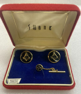 Vintage Swank Cufflinks & Tie Tack Set In Original Box - Gold Tone & Black Onyx