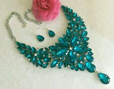 SparklingTeal Rhinestone Statement  Necklace and Earrings Set