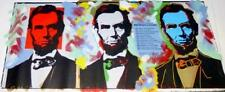 LINCOLN THREE FACES (16x40) by Steve KAUFMAN. ABRAHAM LINCOLN. GALLERY WRAPPED!