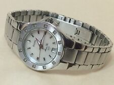 Bulova Ladies Marine Star Quartz Watch White Easy To Read Dial Diamonds Silver
