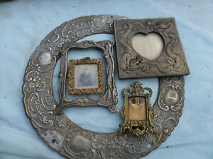 5 ANTIQUE VINTAGE PHOTO FRAMES, MINIATURE AND SMALL, BRASS, AND OTHER METALS
