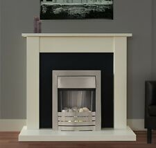ELECTRIC FIRE IVORY FIREPLACE SURROUND PEBBLE BRUSHED STEEL BLACK BACK SALE