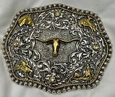 Silver & Gold 2 Tone Western Cowboy Rodeo Bull Riding Large Belt Buckle Justin