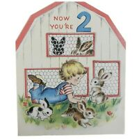 Now You're 2 Diecut Birthday Greeting Card Two-Count 'Em Norcross Rabbits Boy