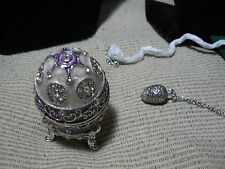 EMPRESS VIOLET JEWEL EGG AND NECKLACE DONE IN SILVER METAL NEW IN BOX  BX 11