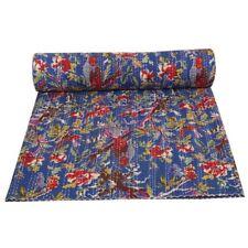 Indian blue cotton handmade kantha quilt vintage bohemian twin bedding bedspread