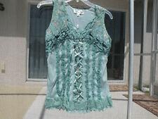 Pretty Angel Lacy Corset Silkblend Crinkle Tank Shirt SizeX L