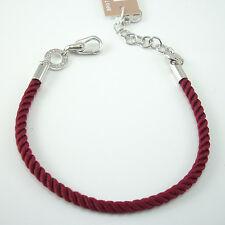 Bracciale base per charms Rosato in cordino rosso con finali argento BR07