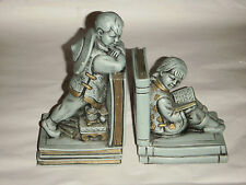 Pair Vintage Oriental Boy & Girl Universal Statuary Book Ends 1964 Green 9278