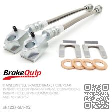 BRAIDED STAINLESS REAR CALIPER to AXLE BRAKE HOSES [HOLDEN VN COMMODORE] SILVER
