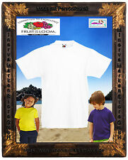 Basic Kinder T-Shirt Unifarben Baumwolle Basic wei�Ÿ Fruit of the Loom Gr.98