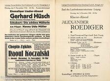 Alexander Roediger Klavierkonzert Programmheft Leipzig 1936 + Gerhard Hüsch