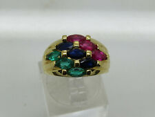 Gold OVER Sterling Silver .925 Marquise Ruby Sapphire Emerald Dome Ring Size 8