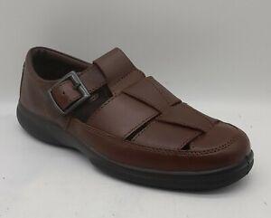 Men's HOTTER Sand-Al Size 8.5 UK  Brown Leather Casual Sandals Buckle Fasten EUC
