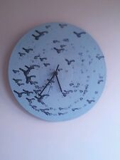 Black and pale blue  vinyl quartz clock.Handmade. Modern/ funky. Birds.