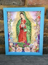 Authentic MEXICAN Virgin of Guadalupe Glittery Retablo Painting Icons Kitsch #05