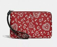 NWT COACH F67514 RED CORNER ZIP WRISTLET WITH LACE HEART PRINT ~ MSRP $75.