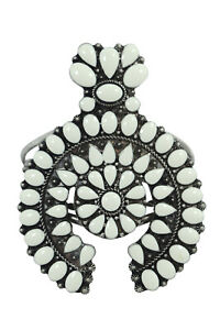 Southwestern Bohemian White Faux Turquoise Squash Blossom Chunky Cuff Bracelet