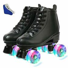 New listing MAOWAO Roller Skates Adjustable Soft Leather High-top Roller Skates Four-Whee...