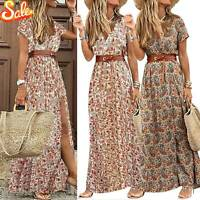 Womens Gypsy V-neck Boho Belted Long Maxi Dress Ladies Beach Holiday Sundress