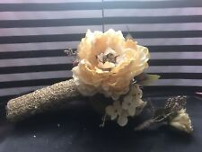 Gold White Rose Silk Flower Wedding Bouquet Rustic Wedding