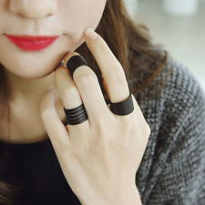 3Pcs/set Black Open Ring Set Mid Knuckle Ring Adjustable Chunky Charm Jewelry
