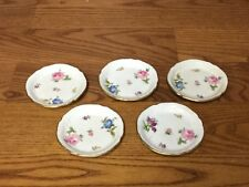 """5 ROSENTHAL Germany Floral 3 1/2"""" Butter Pats Gold Trim Embossed (2528)"""