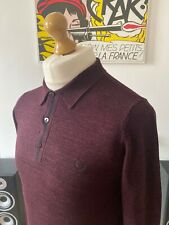 Fred Perry Burgundy Marl Collared Polo Jumper S - M Mod Ska Skins Casuals 60s
