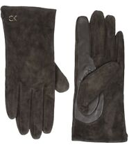 Calvin Klein Brown Leather wrist length gloves Women Size S New Driving Hand NWT