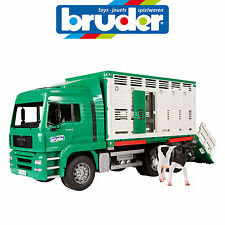 BRUDER 1:16 MAN CATTLE FARM TRANSPORTER TRUCK w COW 2749 MADE IN GERMANY