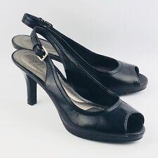 Womens 8.5 Dexter Dexflex Black High Heel Shoes Dress Pumps Peep Toe Slingback