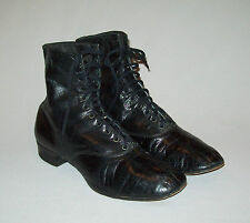 Old antique vtg 1910s -20s Mens Womans Leather Boots Edwardian Spade Sole Great