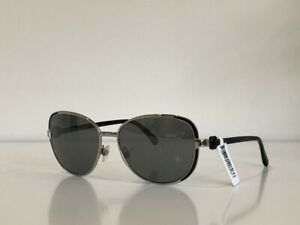 CHANEL 4187 c.124/4D Aviator Silver Gray Mirrored Black Sunglasses 57*16*135