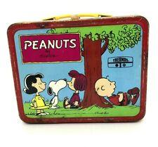 Vintage 1973 Peanuts Charlie Brown & Snoopy Metal Lunch Box Comics