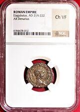 E-Coins Australia Elagabalus AR Denarius NGC Ch VF Roman Imperial coin FIDES