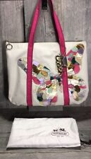 Coach Poppy Canvas Leather Butterfly Shoulder Tote Pink Linen Multi R= $268