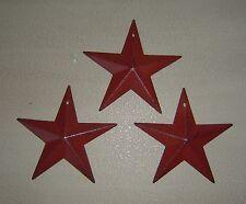 "Primitive Barn Star Ornament Ornie Set/3 Burgundy 5.5"" Home Decor Craft Supplies"