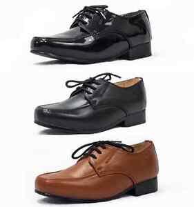 Boys Smart Formal Shoes Black Brown Patent Laces Wedding Infant Junior W