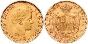 SPAIN , GOLD 20 PESETAS 1899 SM-V  ALFONSO XIII - UNC ( SPA ) , RARE