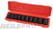 "10 PCE 1/2 ""drive impact socket set 10  11  13  14  17  18  19  21  22 24 mm"