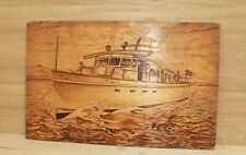 Vintage hand made pyrography wood wall hanging plaque seascape yacht signed