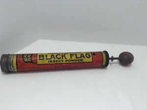 RARE! Vintage Black Flag Insect Powder Sprayer with Wooden Round Handle