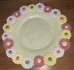 """Vintage Yankee Candle Daisy Chain Candle Plate Country Cottagecore Summer 8"""""""