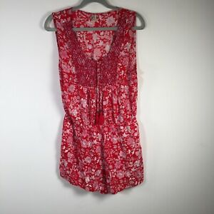 Oneill womens red floral playsuit romper size 12 sleeveless round neck Viscose